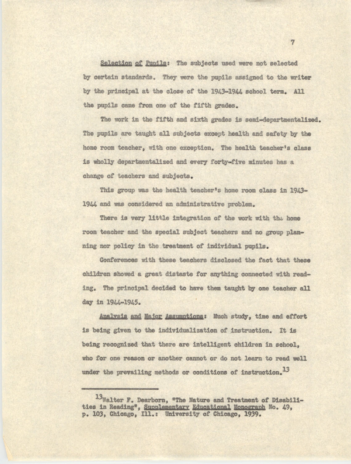 An Experiment in Individualizing Instruction in Reading in a Sixth Grade Class, 1946,  Page 7