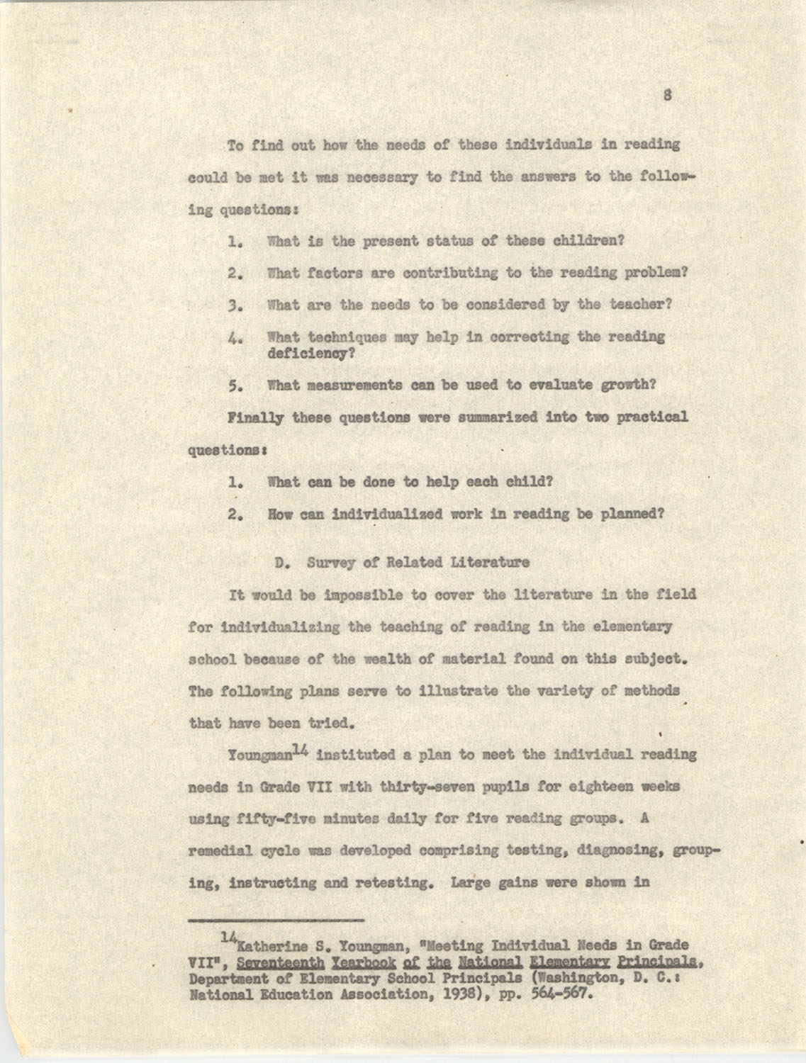 An Experiment in Individualizing Instruction in Reading in a Sixth Grade Class, 1946,  Page 8