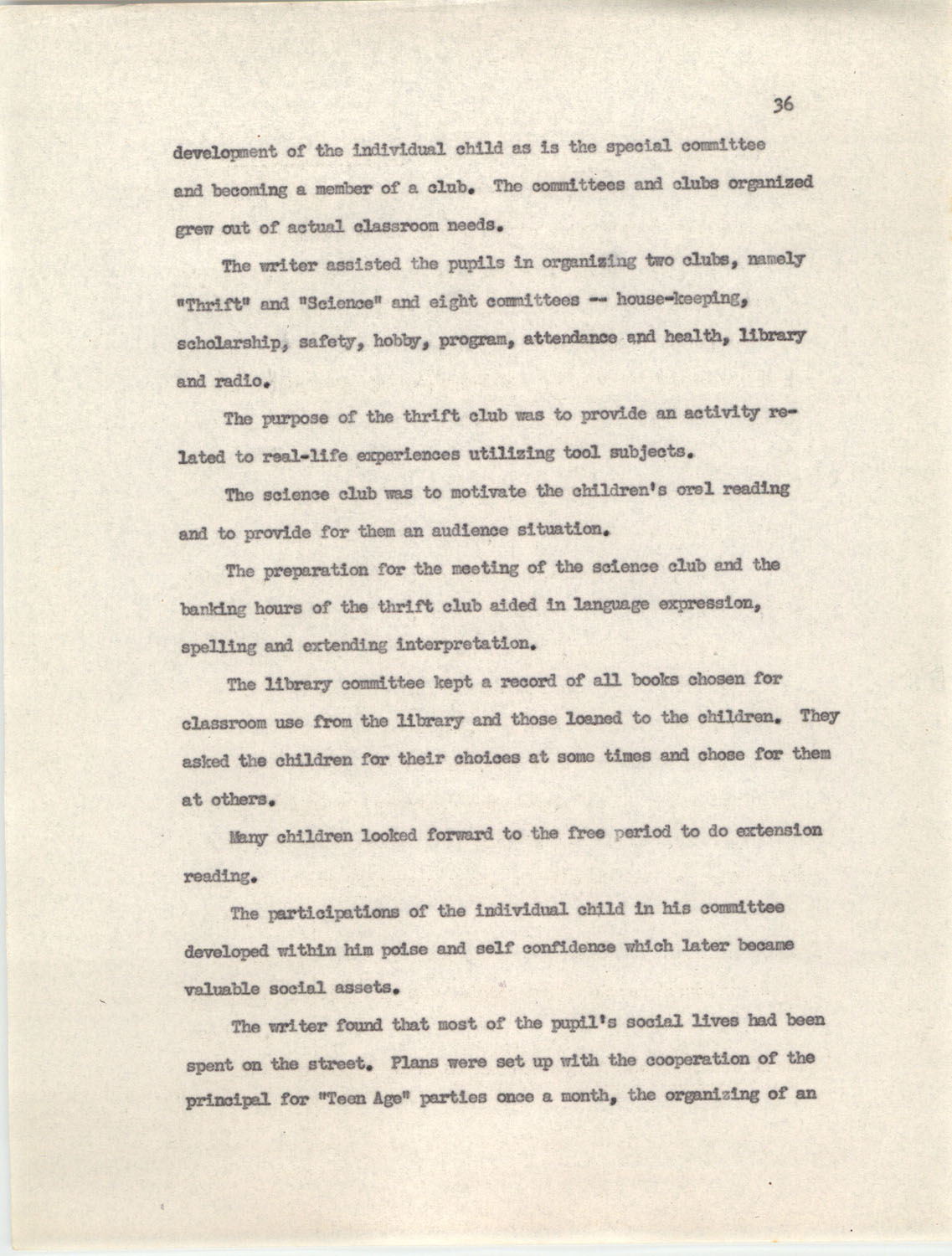 An Experiment in Individualizing Instruction in Reading in a Sixth Grade Class, 1946,  Page 36