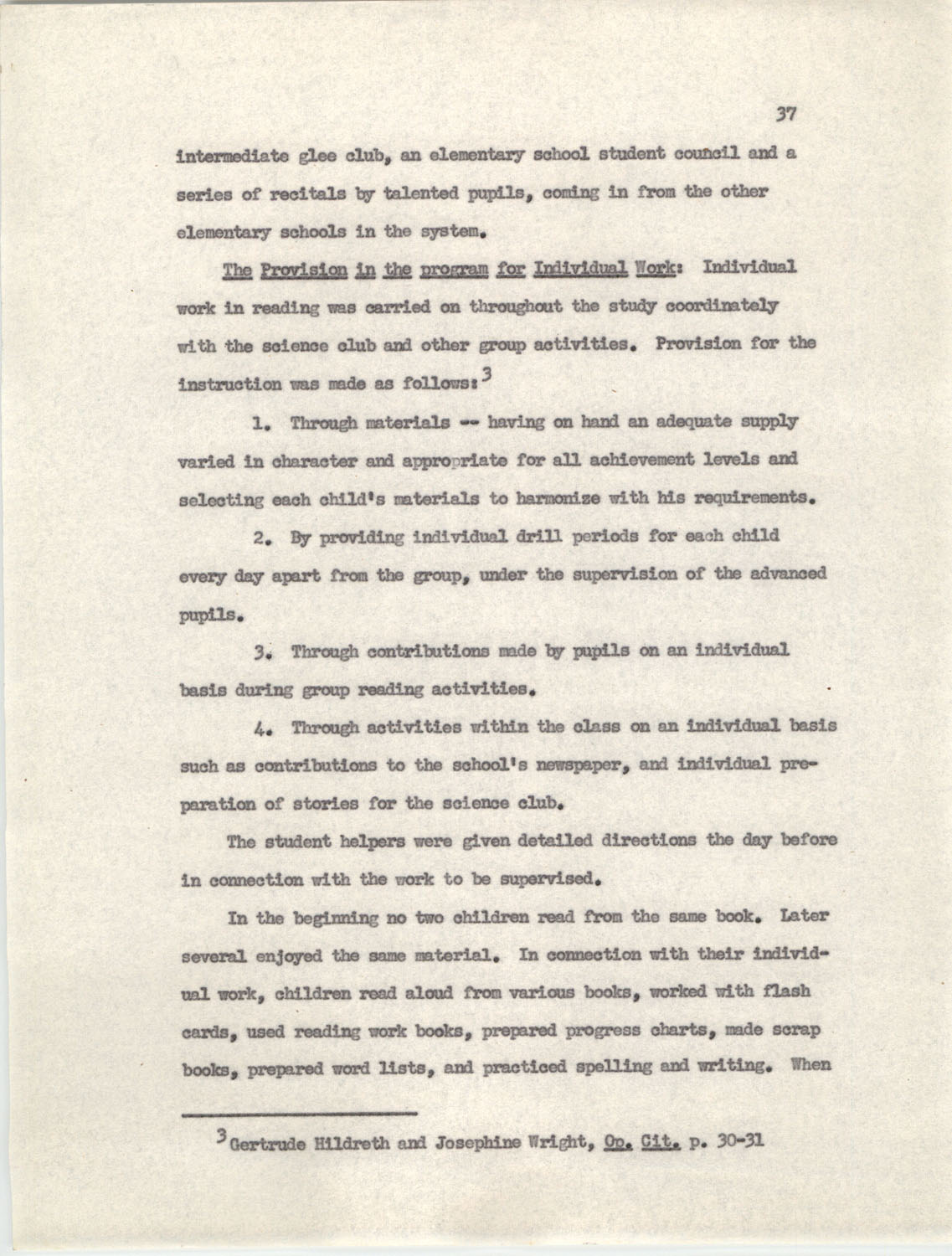 An Experiment in Individualizing Instruction in Reading in a Sixth Grade Class, 1946,  Page 37