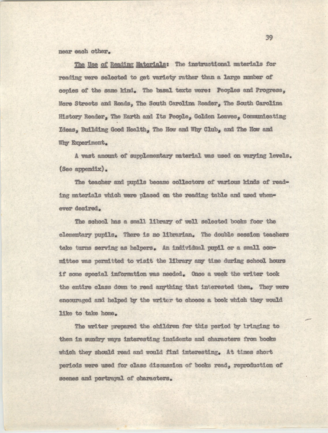 An Experiment in Individualizing Instruction in Reading in a Sixth Grade Class, 1946,  Page 39