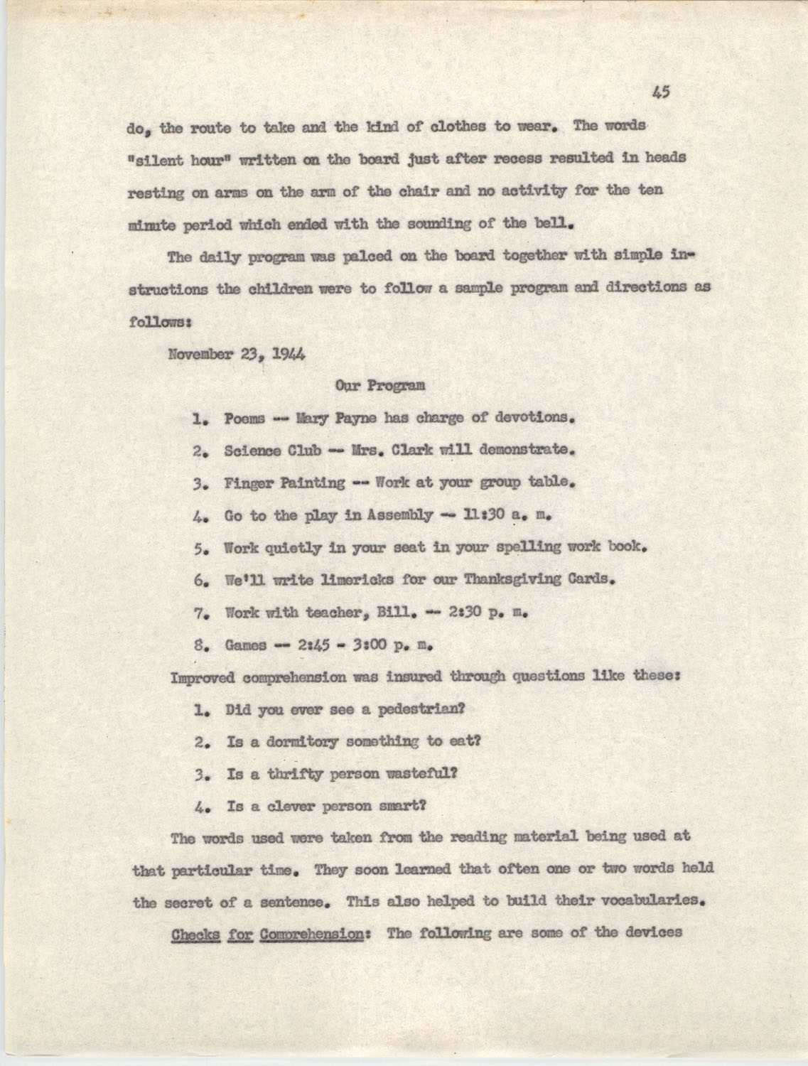 An Experiment in Individualizing Instruction in Reading in a Sixth Grade Class, 1946,  Page 45