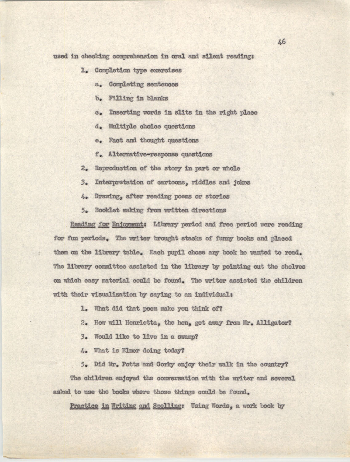 An Experiment in Individualizing Instruction in Reading in a Sixth Grade Class, 1946,  Page 46