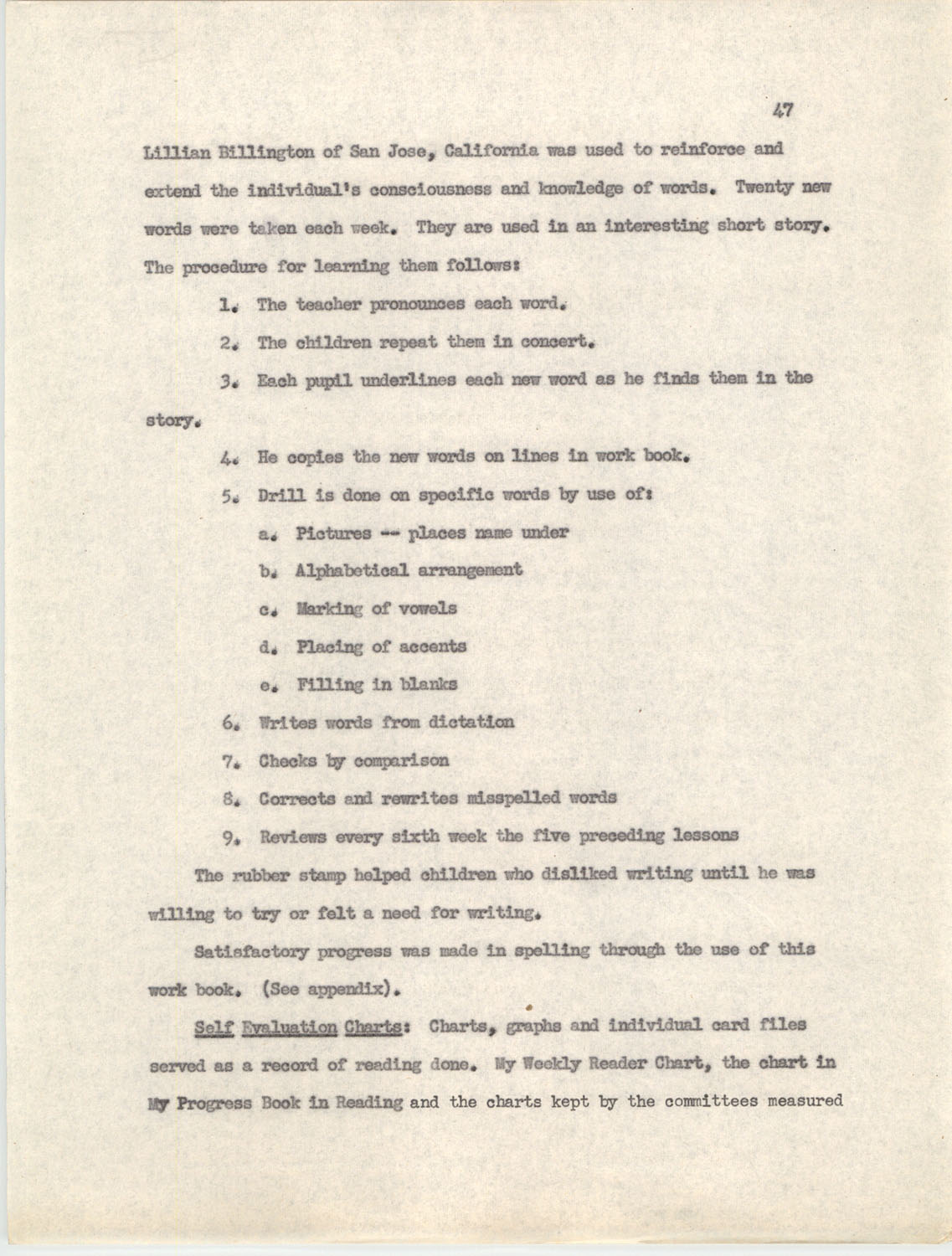 An Experiment in Individualizing Instruction in Reading in a Sixth Grade Class, 1946,  Page 47