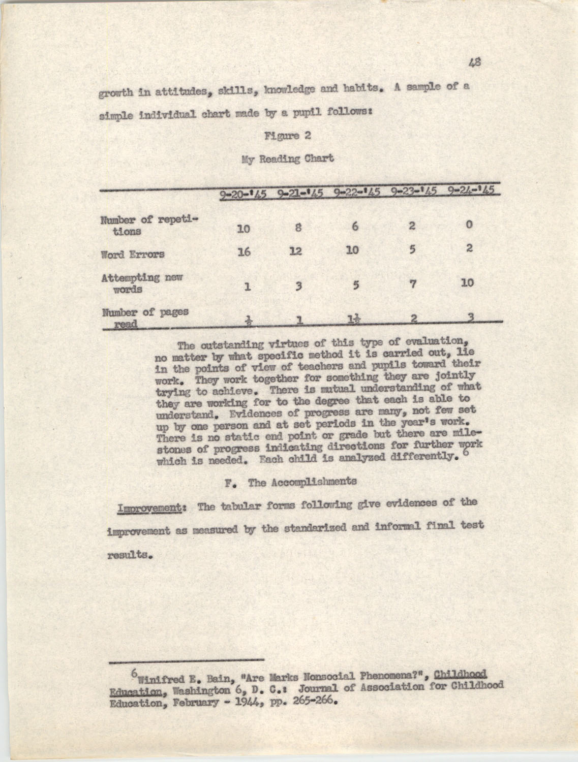 An Experiment in Individualizing Instruction in Reading in a Sixth Grade Class, 1946,  Page 48