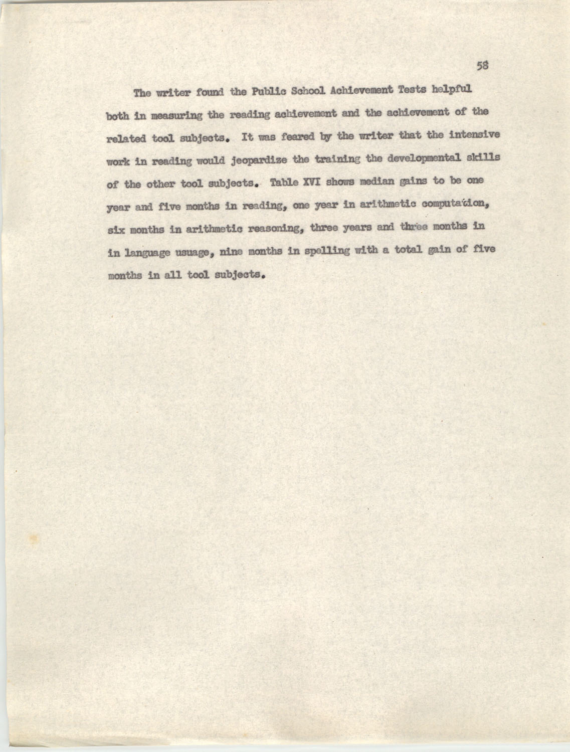 An Experiment in Individualizing Instruction in Reading in a Sixth Grade Class, 1946,  Page 58