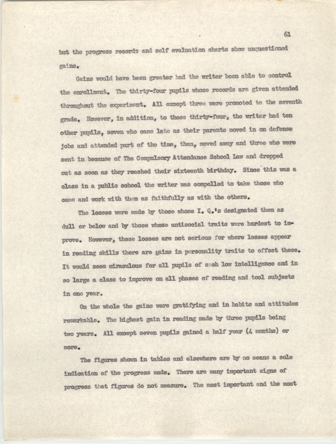 An Experiment in Individualizing Instruction in Reading in a Sixth Grade Class, 1946,  Page 61