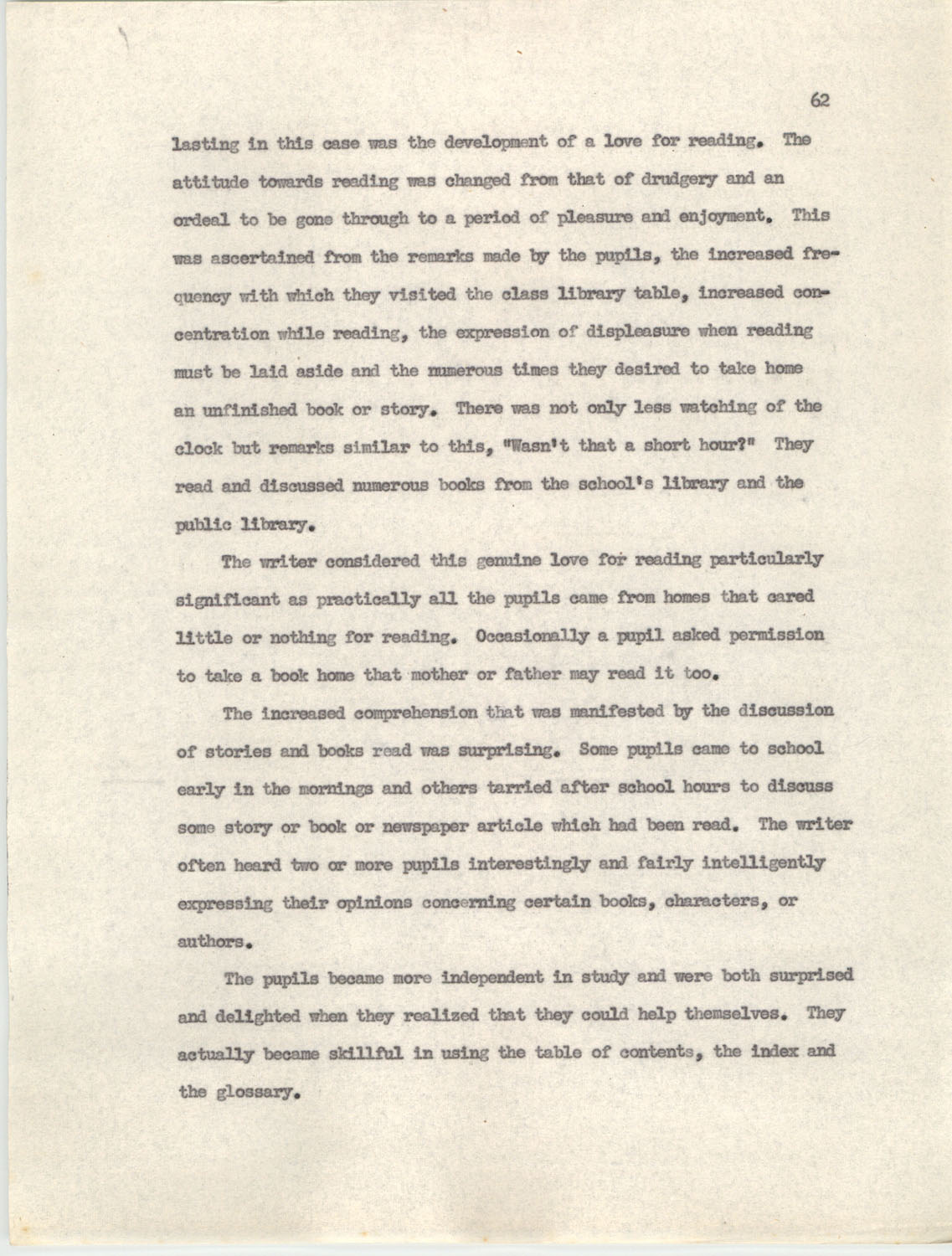 An Experiment in Individualizing Instruction in Reading in a Sixth Grade Class, 1946,  Page 62