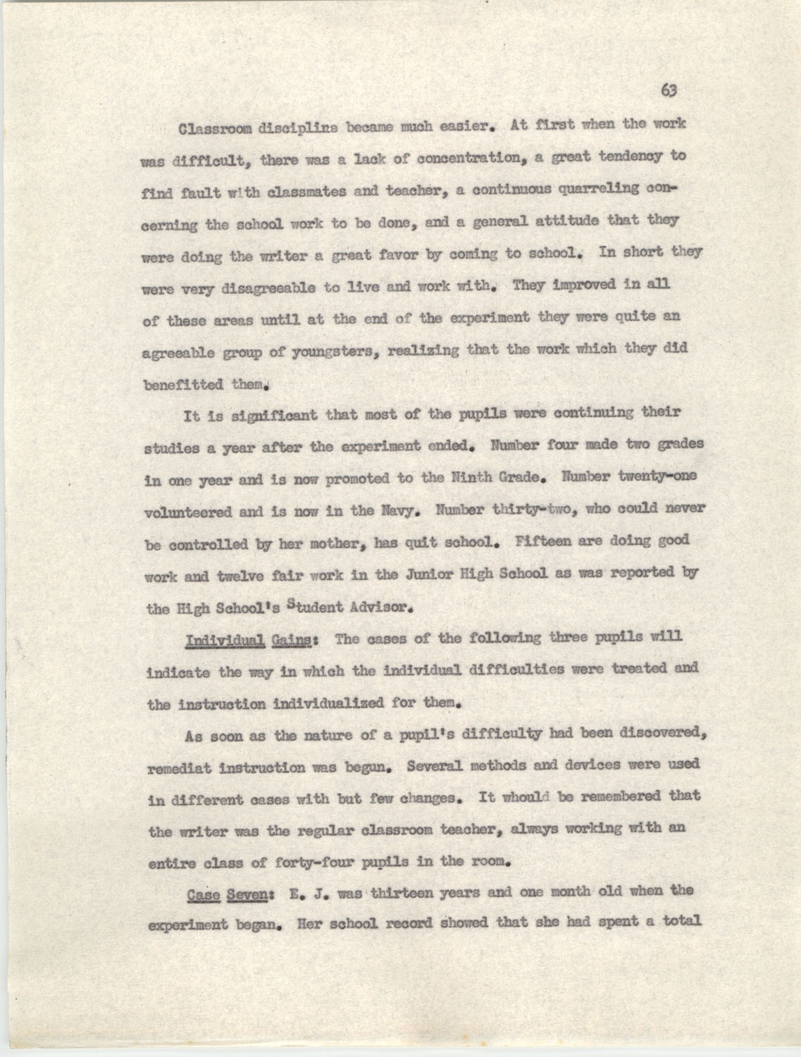 An Experiment in Individualizing Instruction in Reading in a Sixth Grade Class, 1946,  Page 63