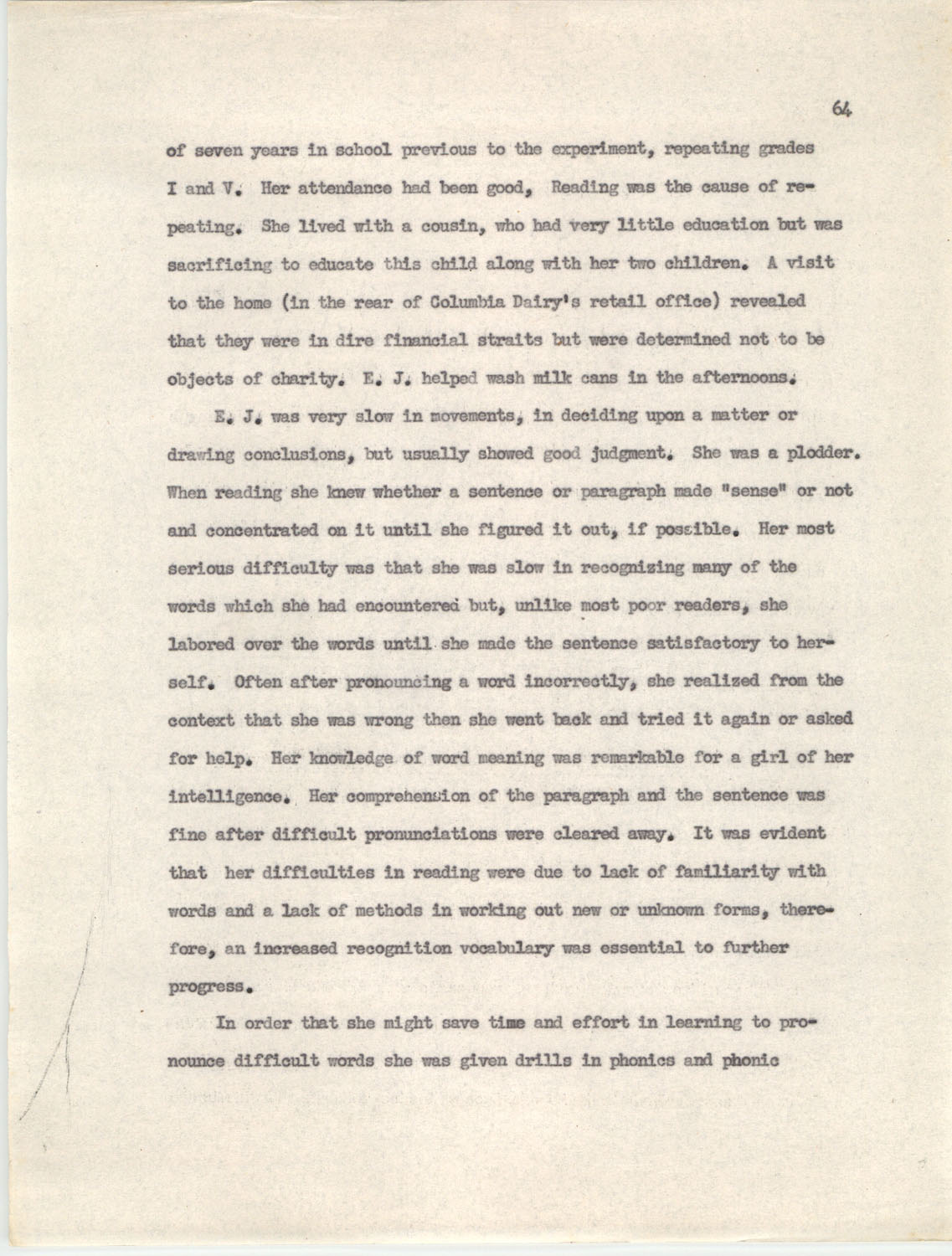 An Experiment in Individualizing Instruction in Reading in a Sixth Grade Class, 1946,  Page 64