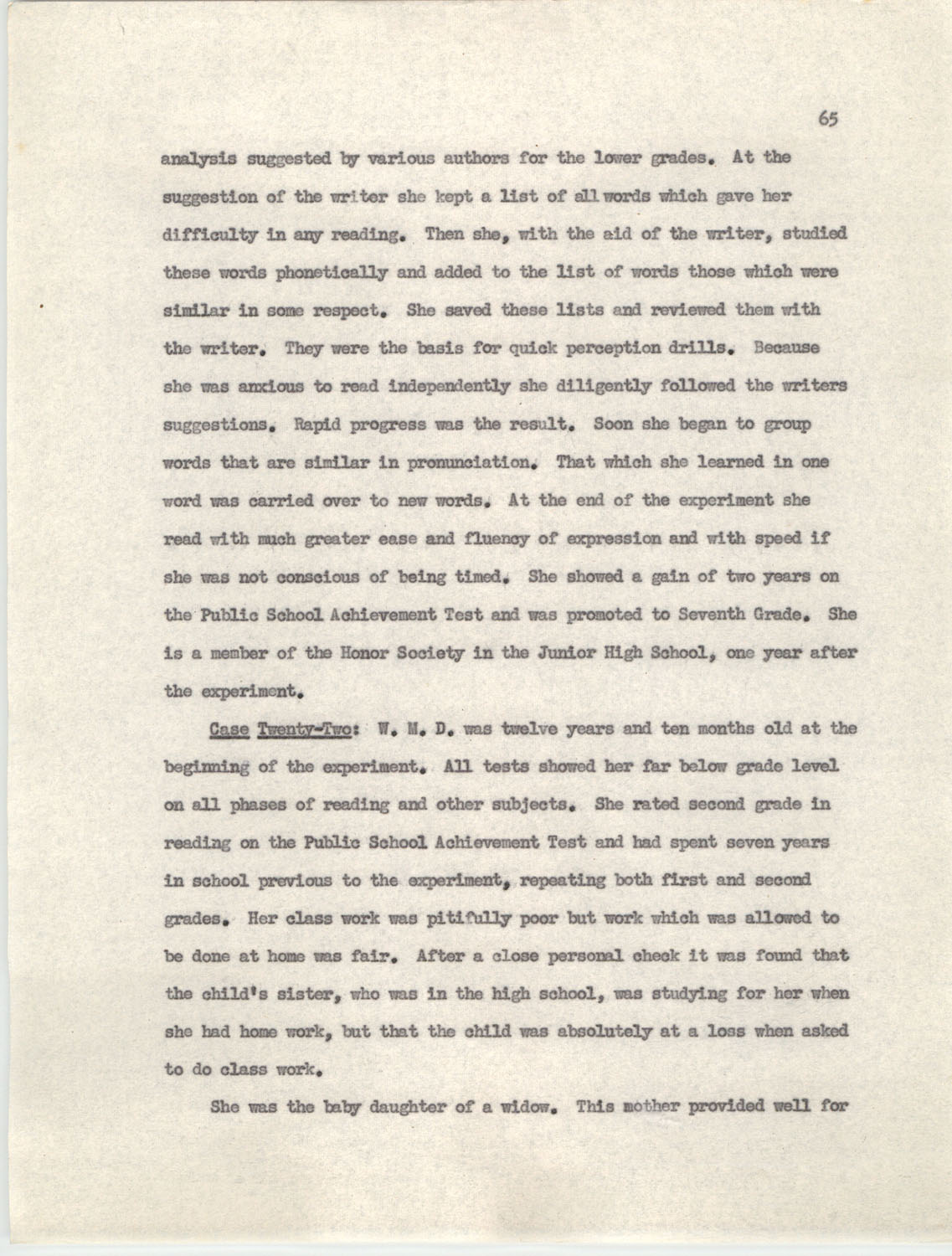 An Experiment in Individualizing Instruction in Reading in a Sixth Grade Class, 1946,  Page 65