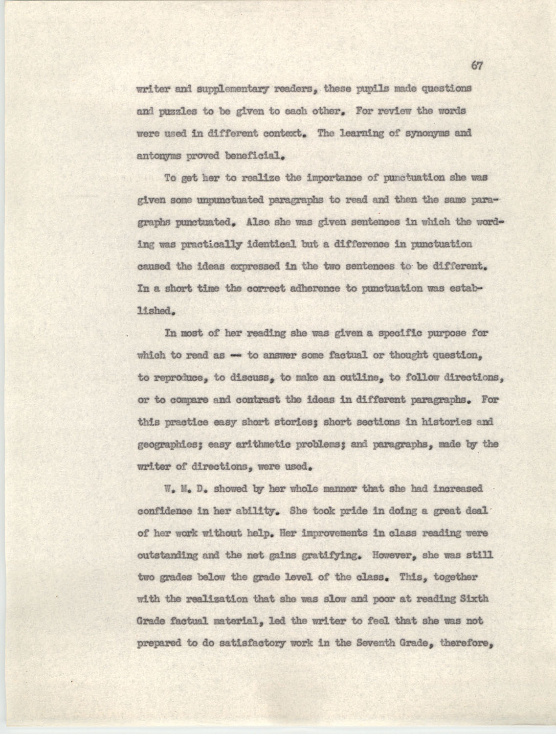 An Experiment in Individualizing Instruction in Reading in a Sixth Grade Class, 1946,  Page 67