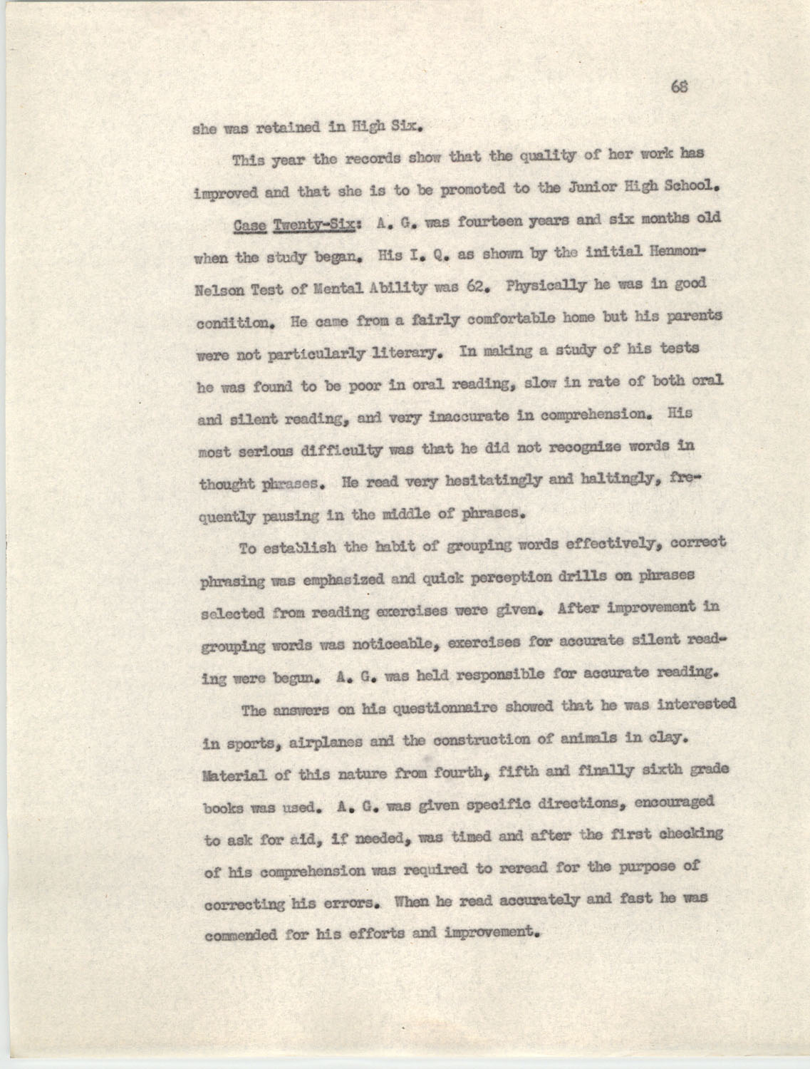 An Experiment in Individualizing Instruction in Reading in a Sixth Grade Class, 1946,  Page 68