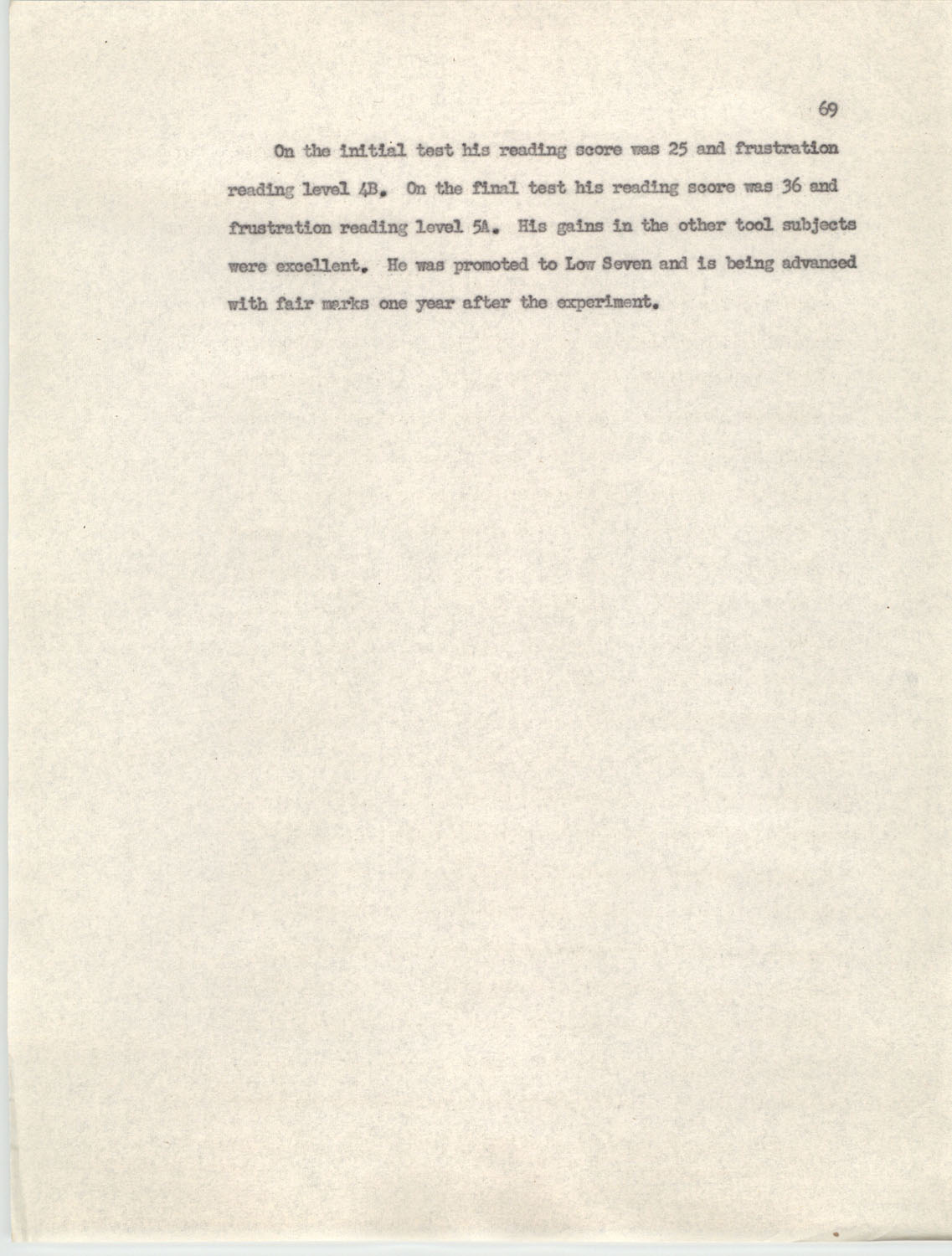 An Experiment in Individualizing Instruction in Reading in a Sixth Grade Class, 1946,  Page 69