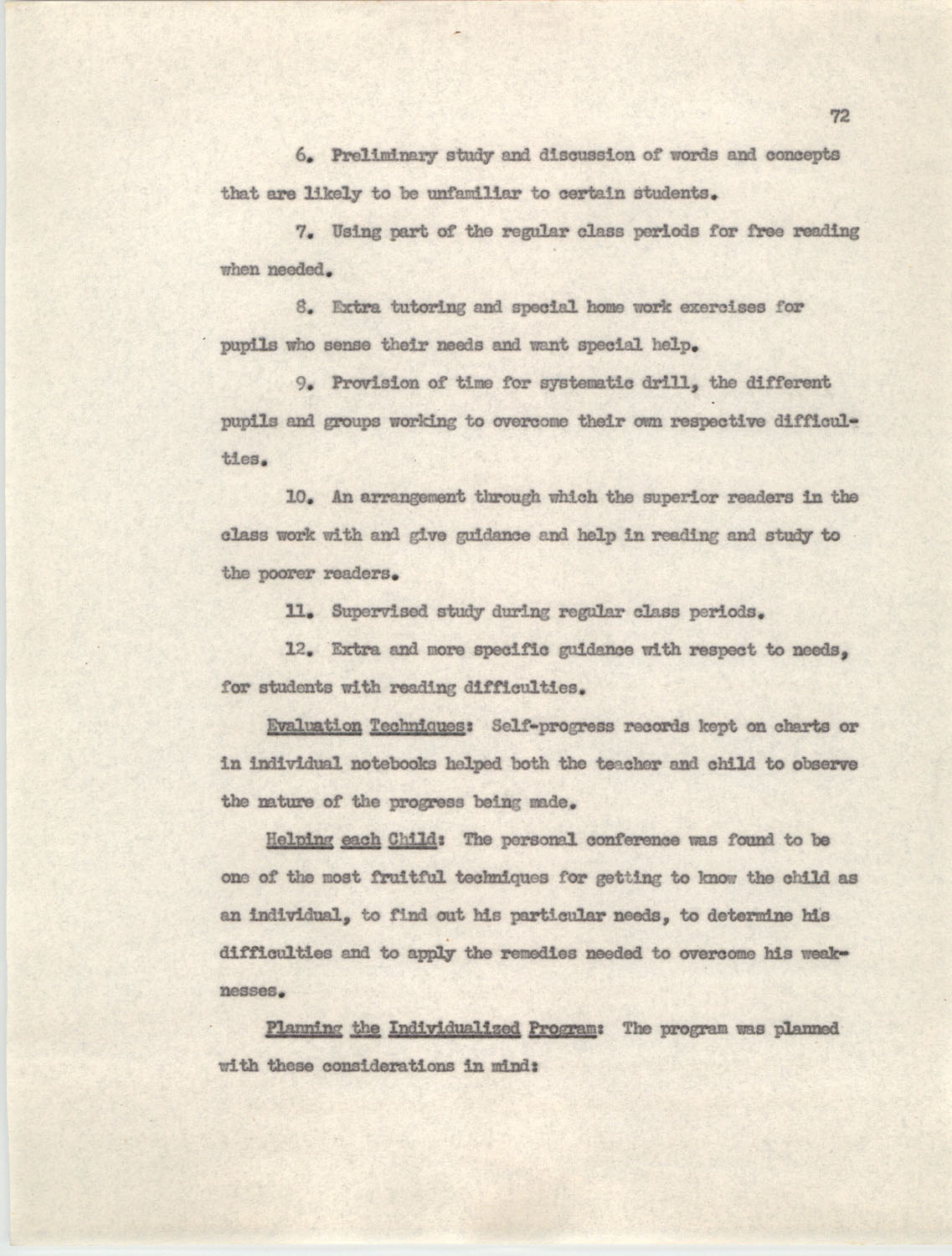 An Experiment in Individualizing Instruction in Reading in a Sixth Grade Class, 1946,  Page 72