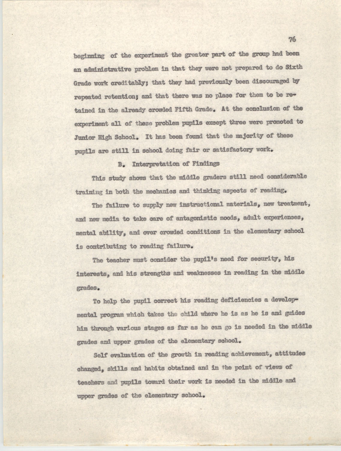 An Experiment in Individualizing Instruction in Reading in a Sixth Grade Class, 1946,  Page 76