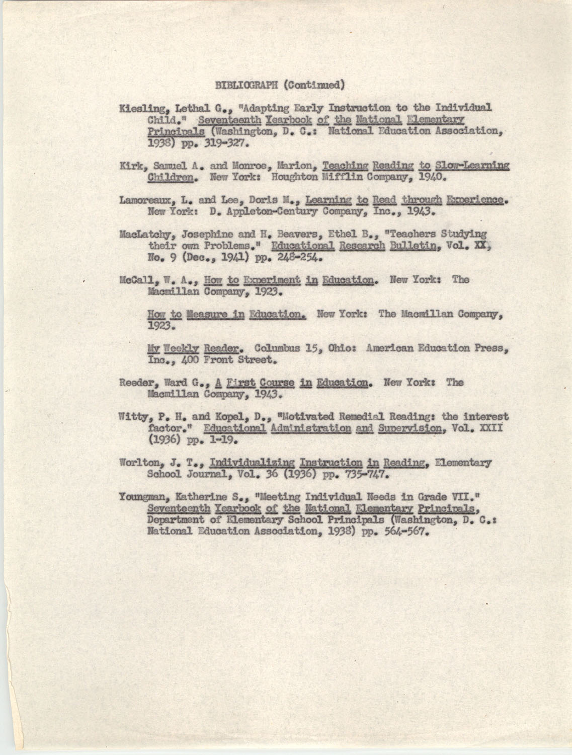 An Experiment in Individualizing Instruction in Reading in a Sixth Grade Class, 1946,  Bibliography 3