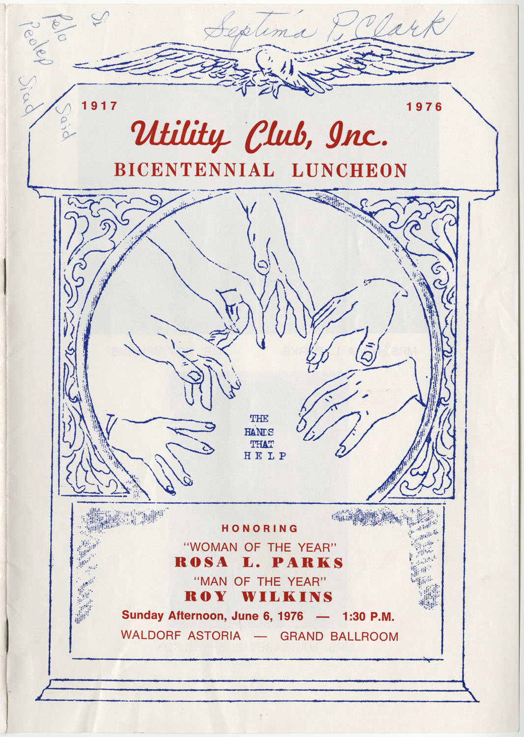 Program to the Utility Club, Inc., Bicentennial Luncheon, Cover