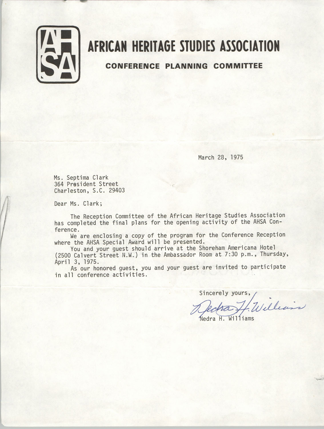 Letter from Nedra H. Williams to Septima P. Clark, March 28, 1975