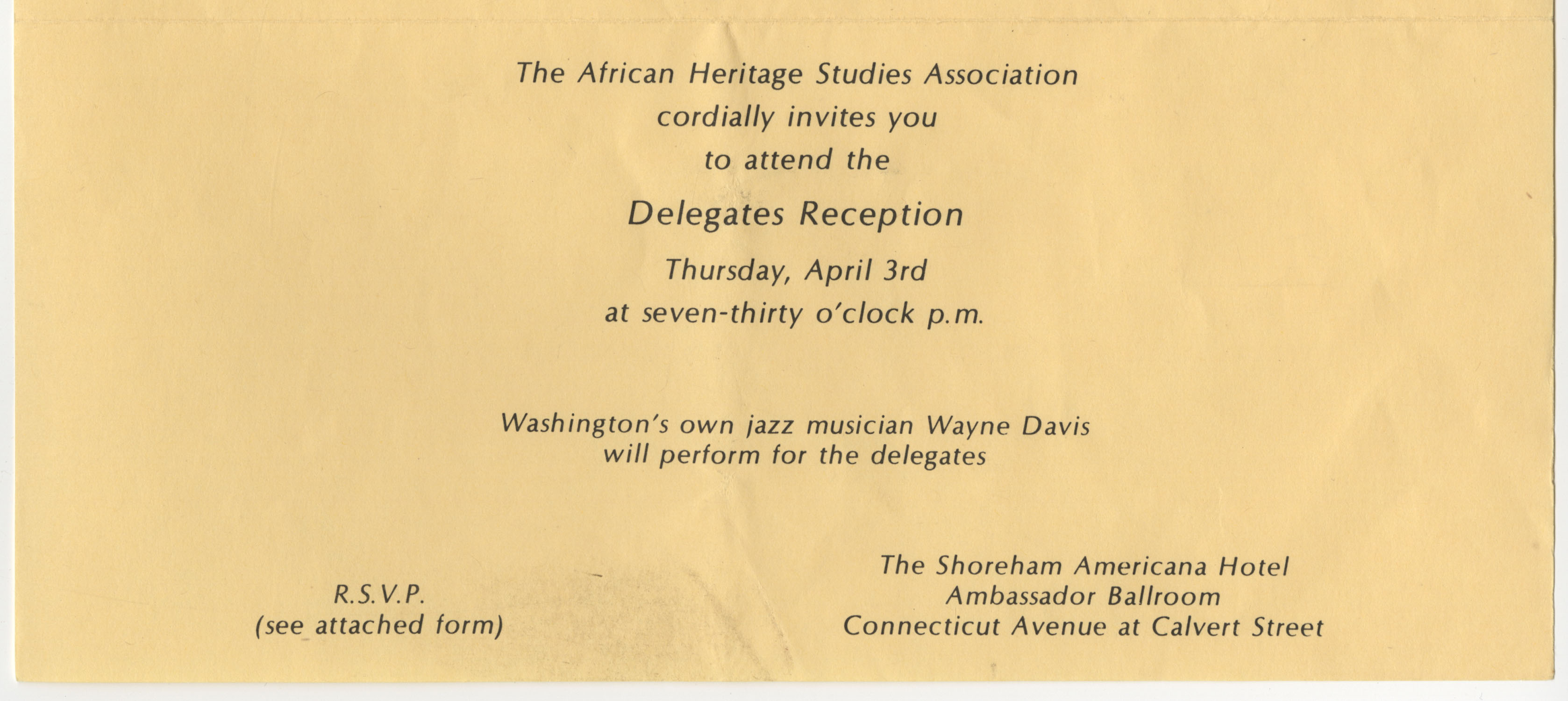 African American Heritage Studies Association Delegates Reception Invitation, Page 1