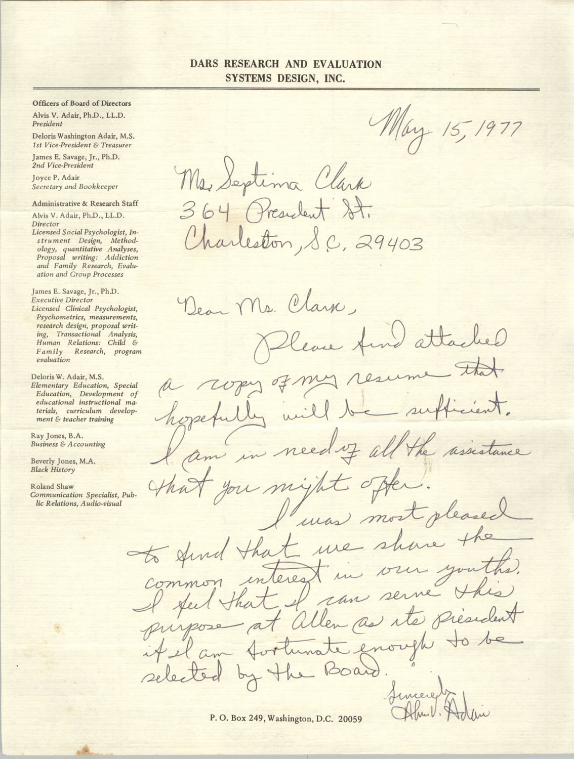 Letter from Alvis V. Adair to Septima P. Clark, May 15, 1977