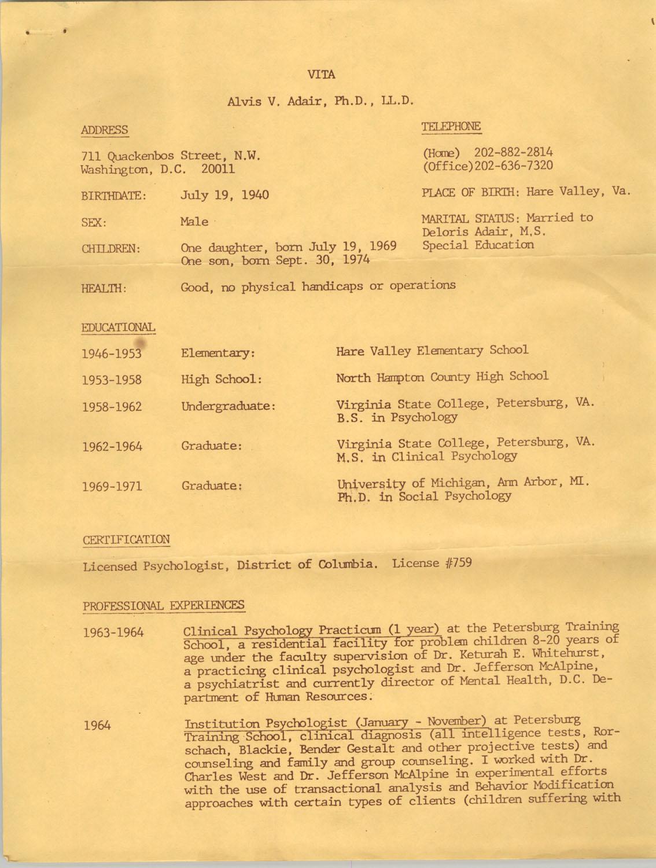 Alvis V. Adair Resume, Page 1