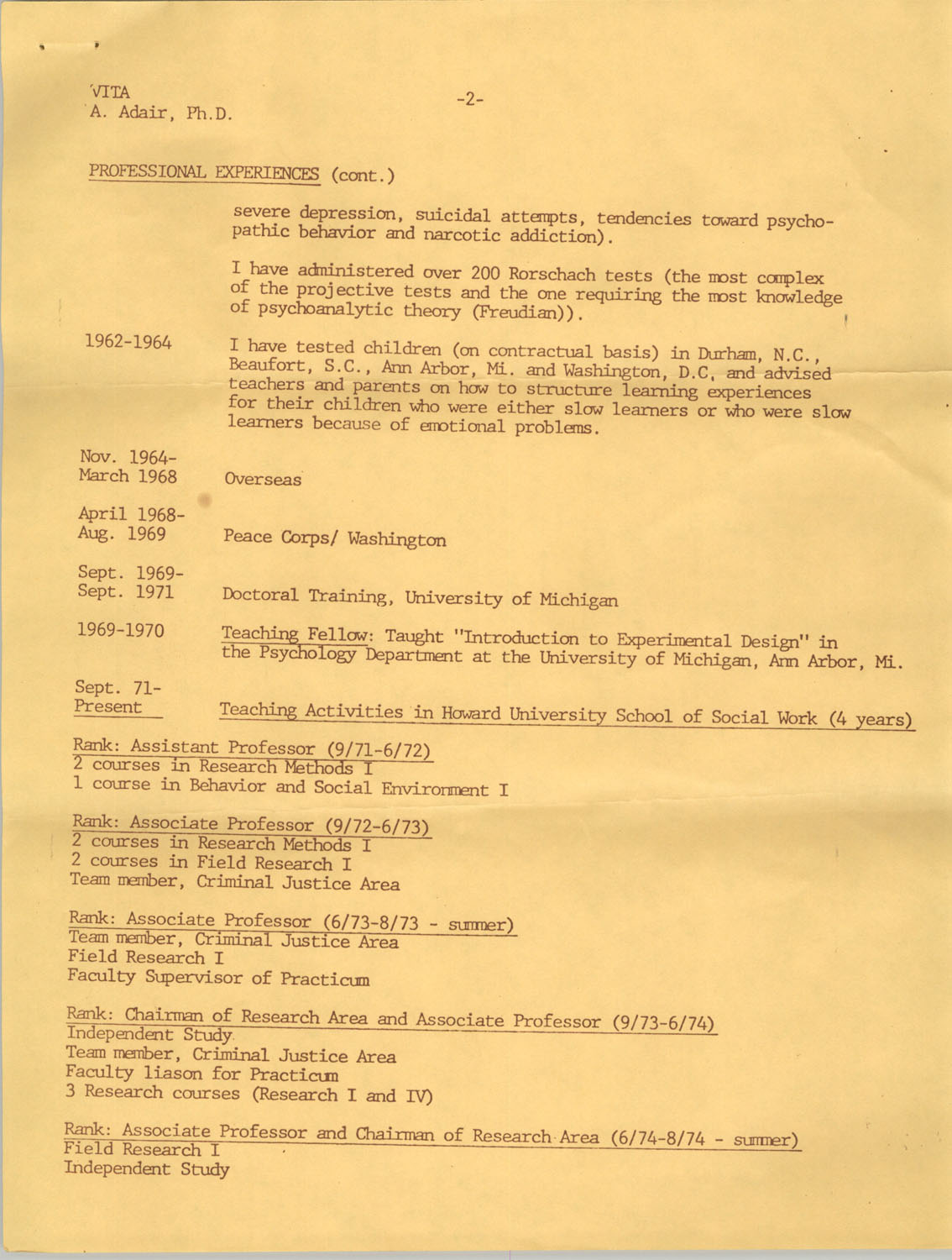 Alvis V. Adair Resume, Page 2