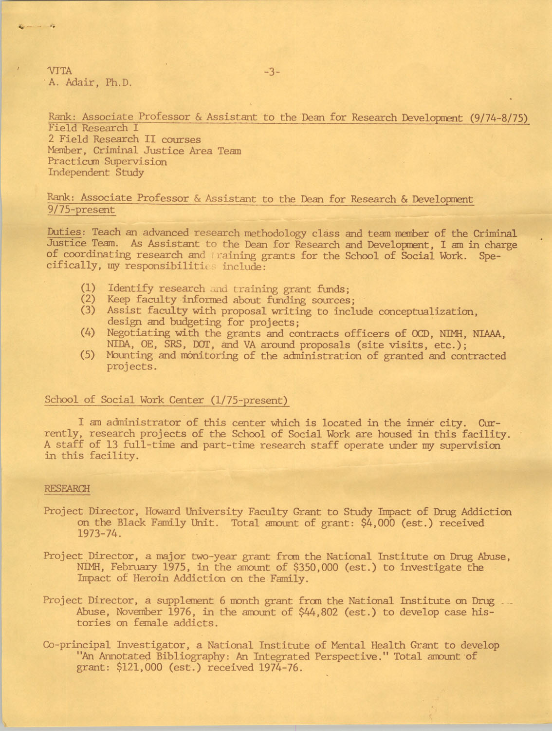 Alvis V. Adair Resume, Page 3