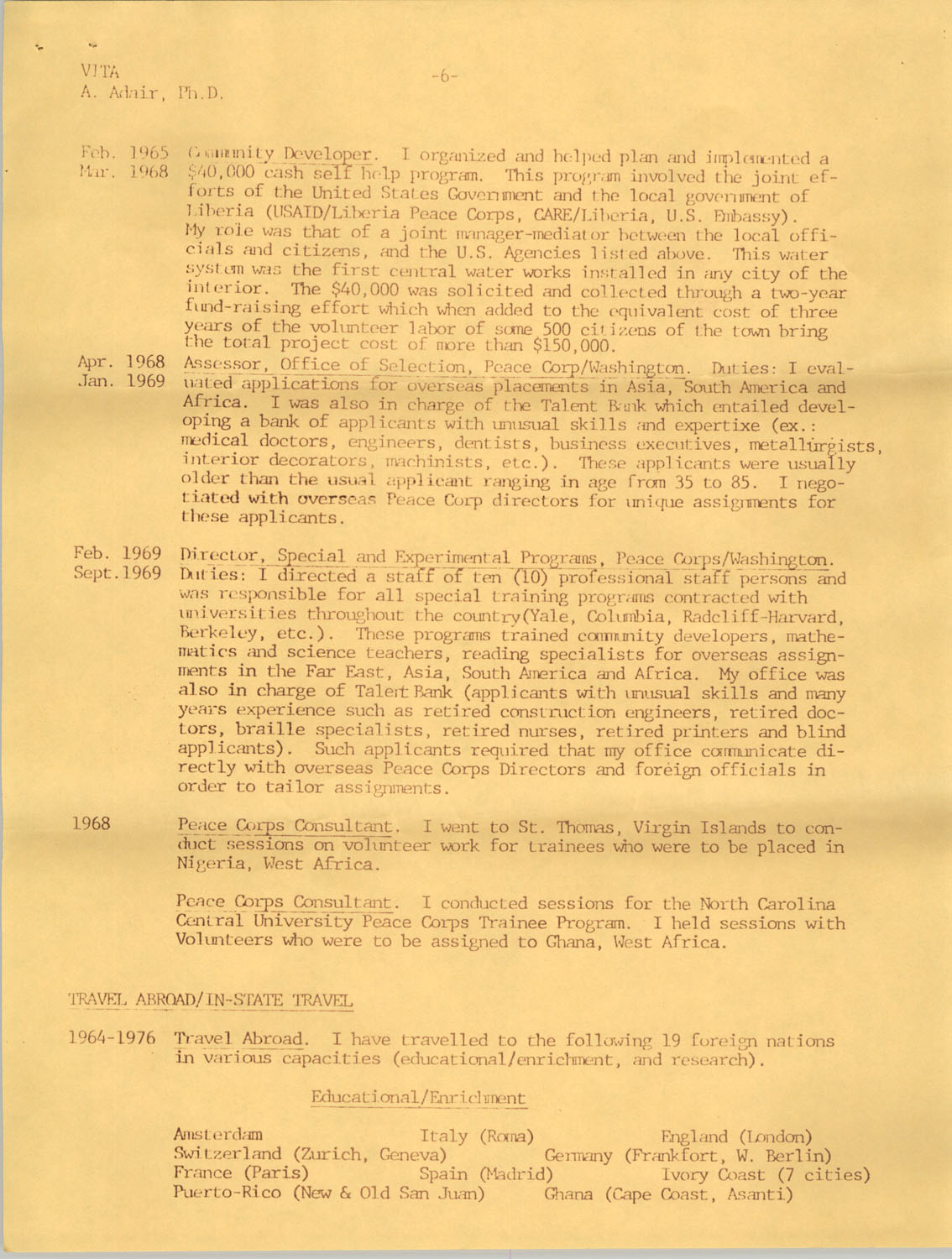Alvis V. Adair Resume, Page 6