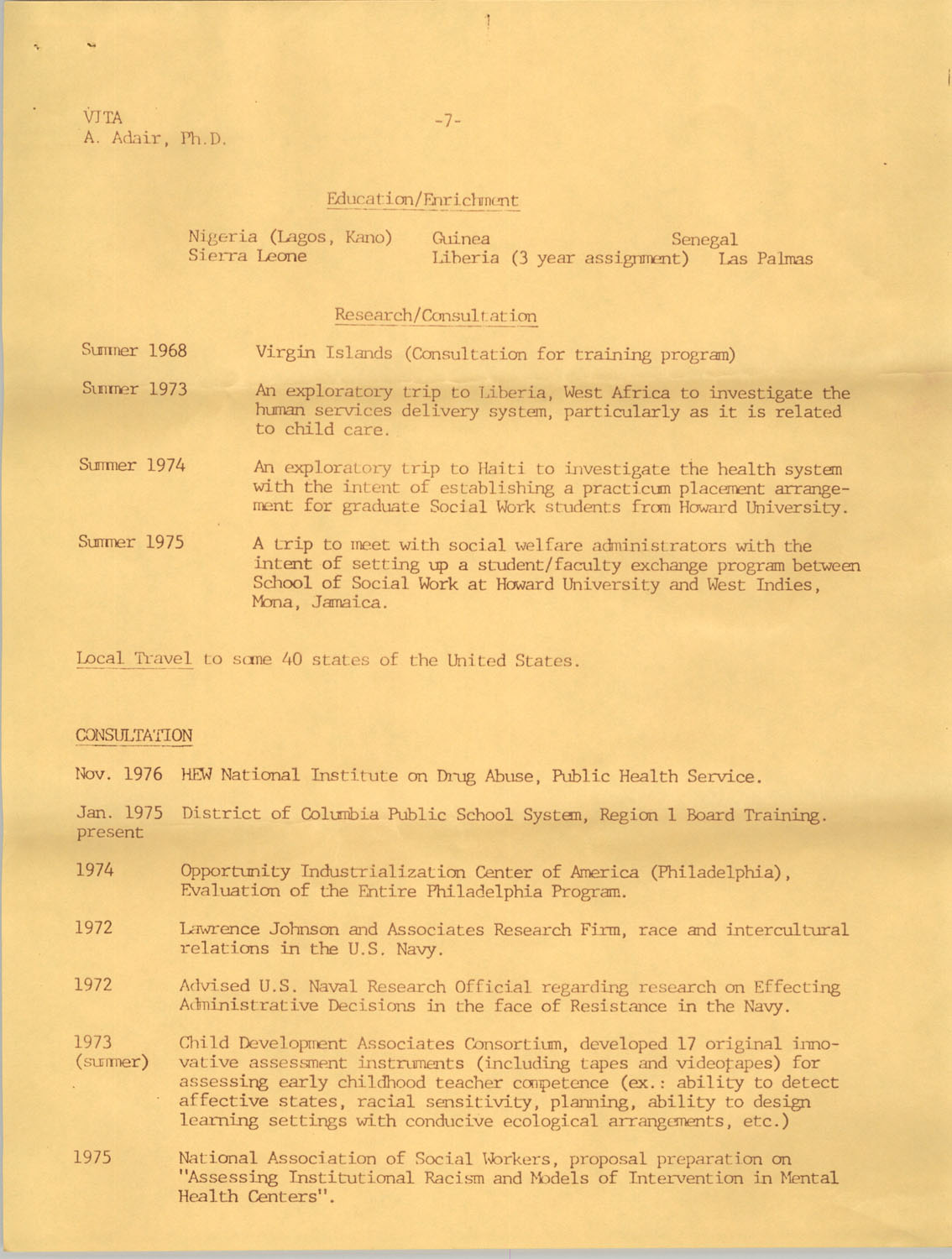 Alvis V. Adair Resume, Page 7