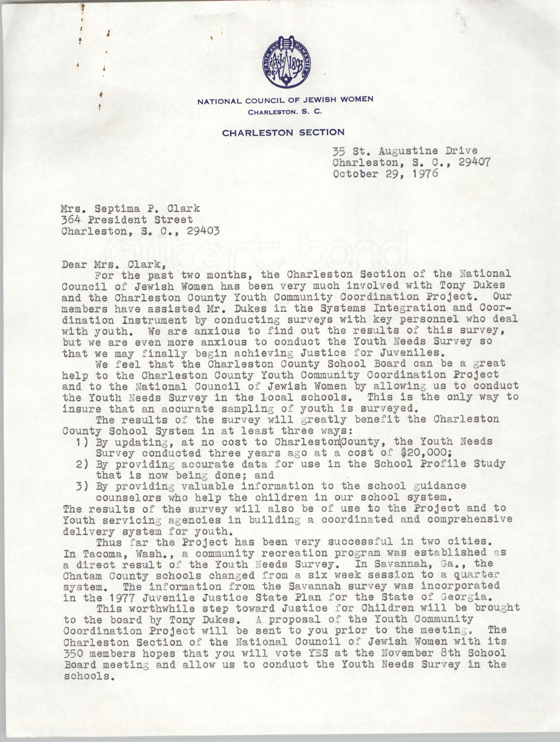 Letter from Ann M. Hellman to Septima P. Clark, October 29, 1976, Page 1