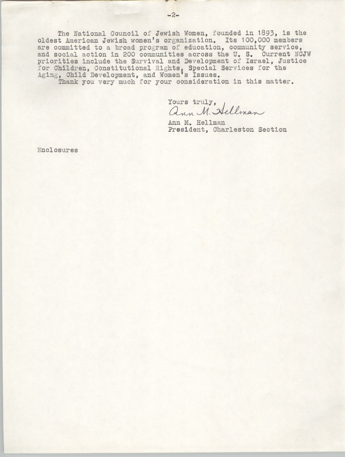 Letter from Ann M. Hellman to Septima P. Clark, October 29, 1976, Page 2