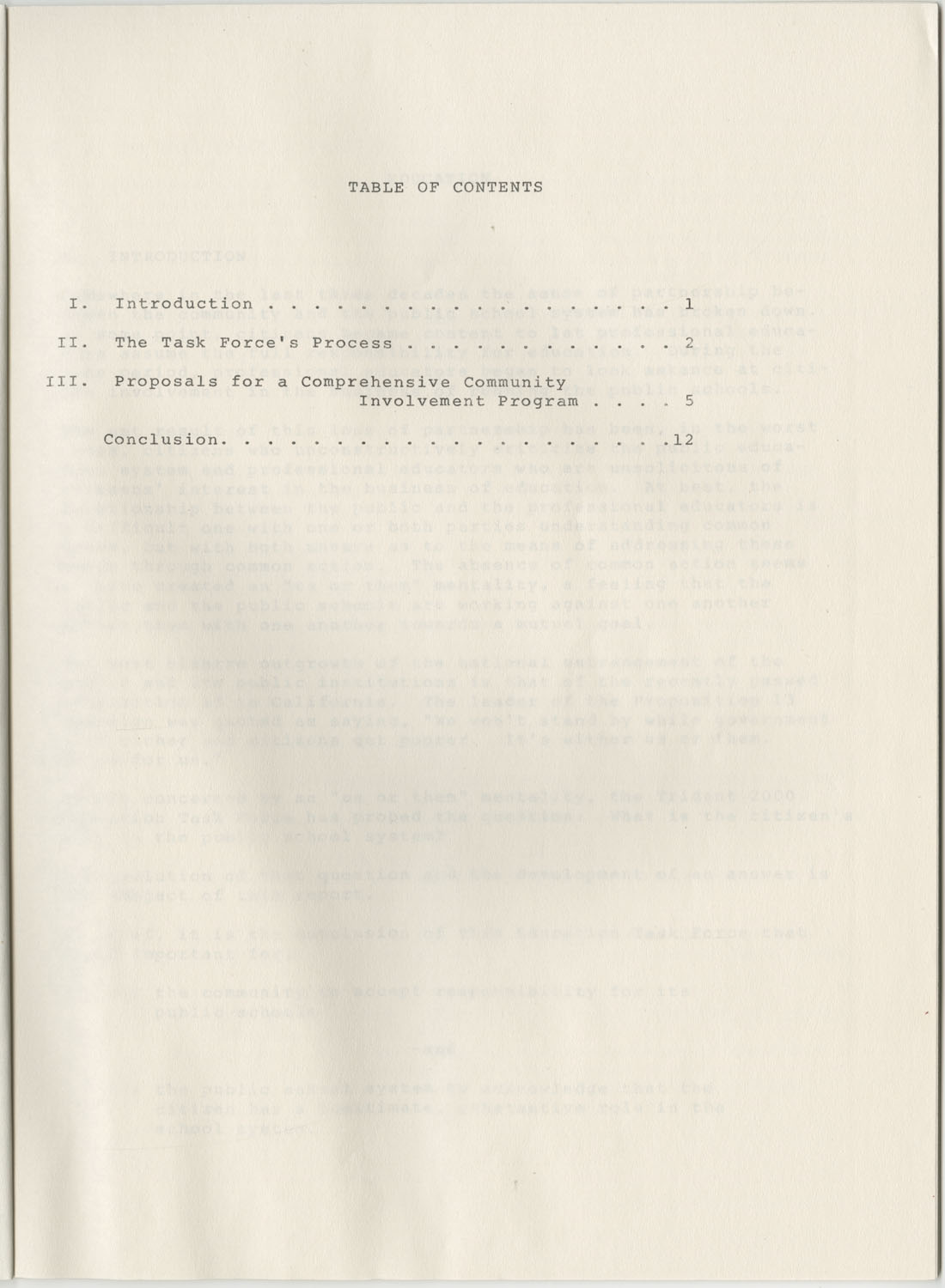 Trident 2000 Task Force Reports on Education, June 1978, Table of Contents