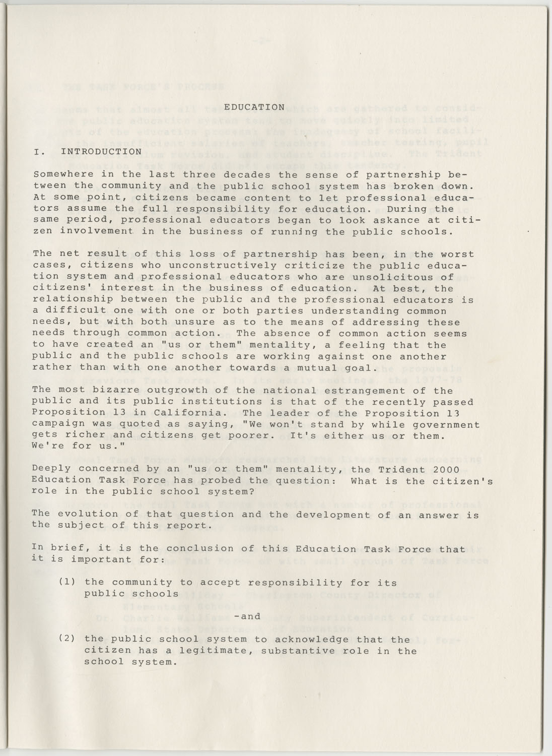 Trident 2000 Task Force Reports on Education, June 1978, Page 1