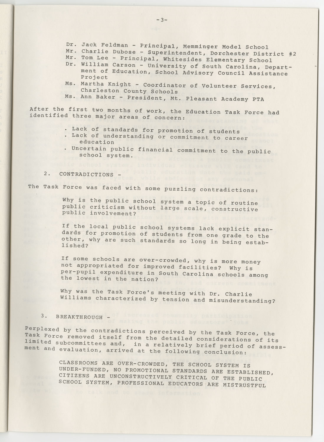 Trident 2000 Task Force Reports on Education, June 1978, Page 3