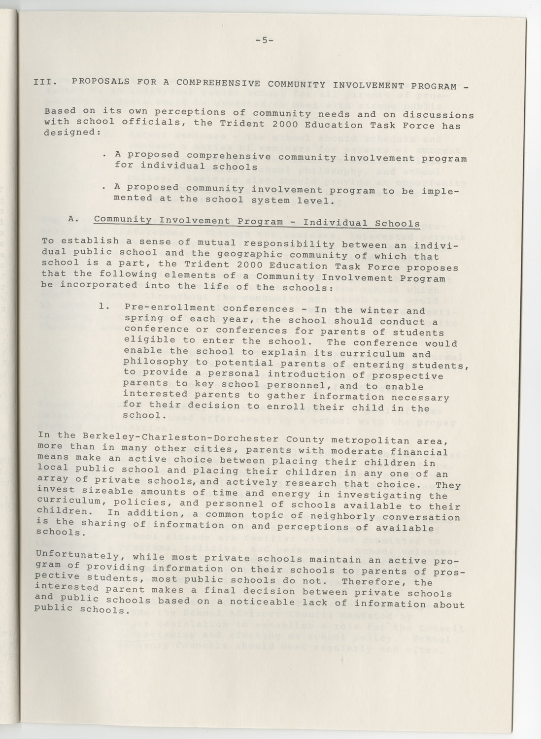 Trident 2000 Task Force Reports on Education, June 1978, Page 5