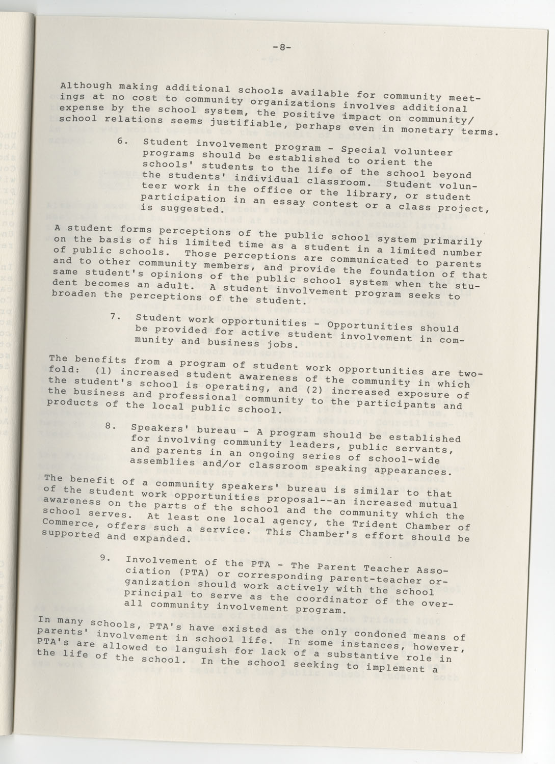 Trident 2000 Task Force Reports on Education, June 1978, Page 8