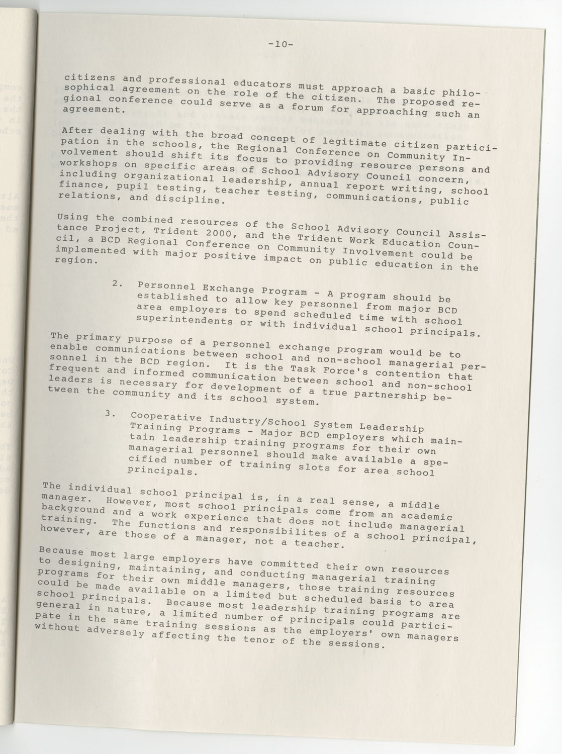 Trident 2000 Task Force Reports on Education, June 1978, Page 10
