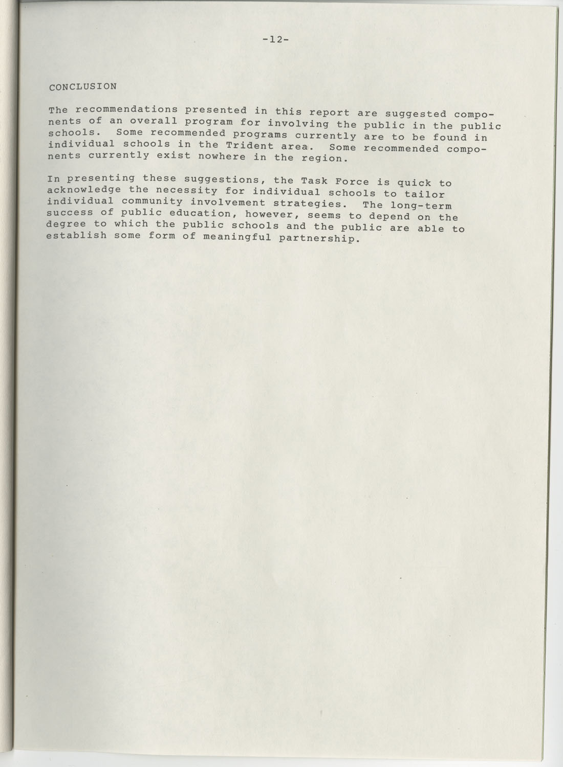 Trident 2000 Task Force Reports on Education, June 1978, Page 12