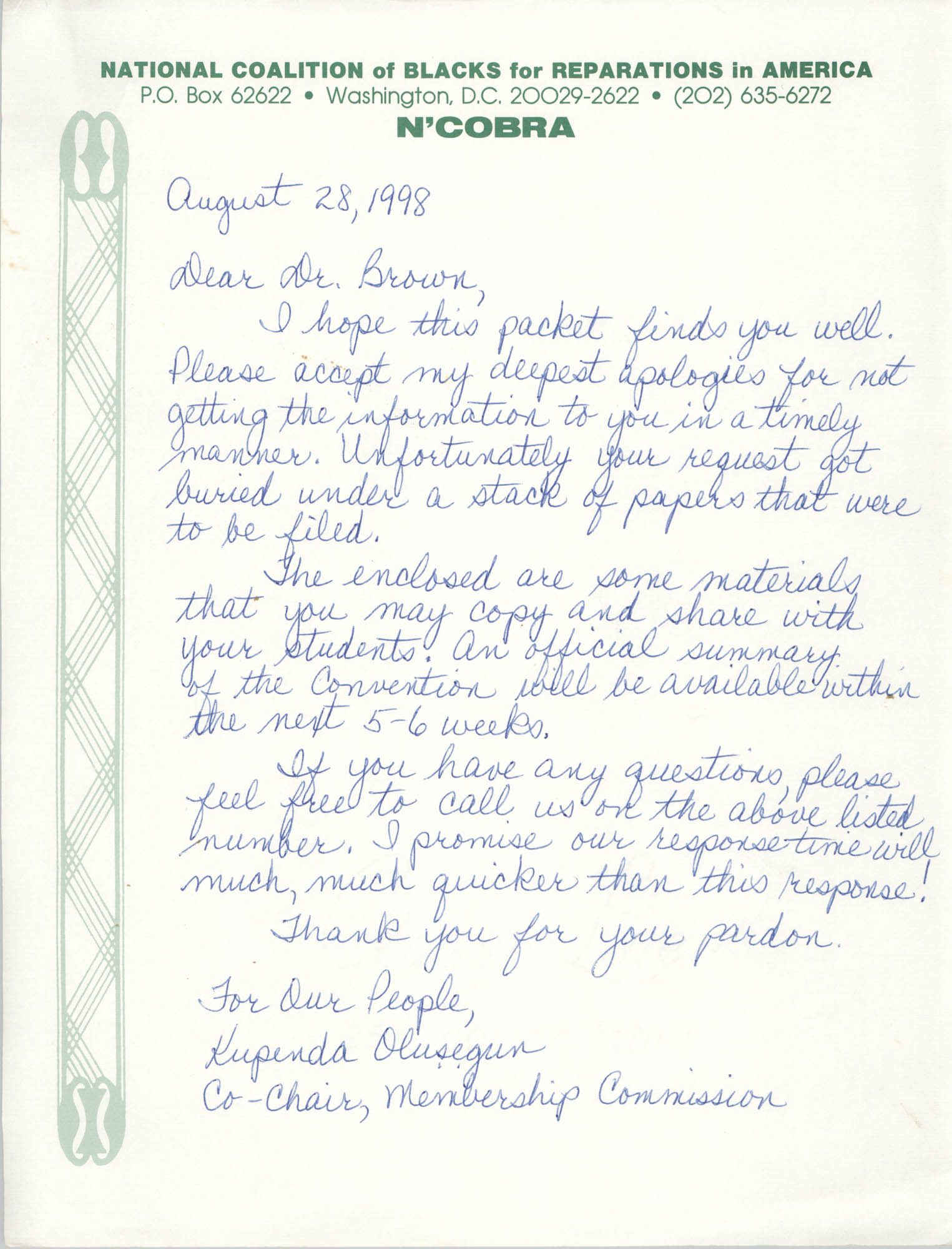 Letter from Kupenda Olusegun to Millicent Brown, August 28, 1998