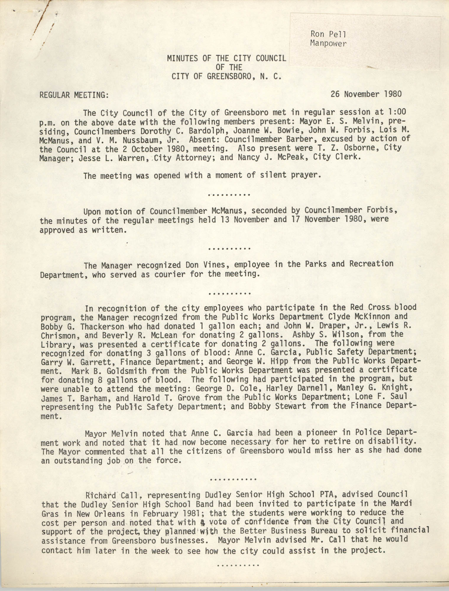 Minutes of the City Council of the City of Greensboro, N.C., November 26, 1980, Page 1