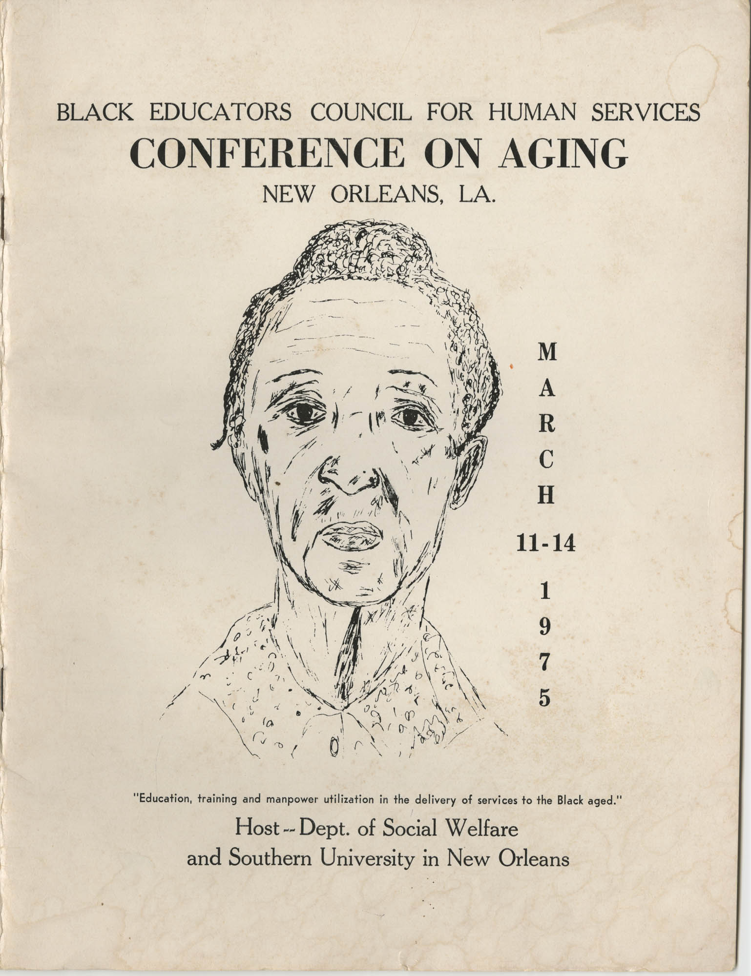 Black Educators Council for Human Services Conference on Aging, March 1975, Front Cover