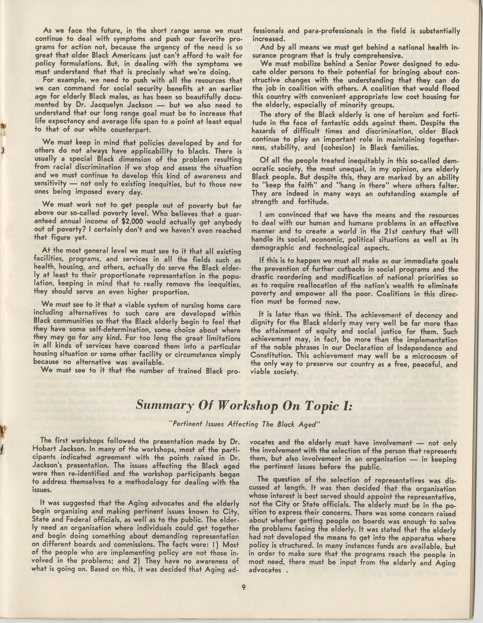 Black Educators Council for Human Services Conference on Aging, March 1975, Page 9