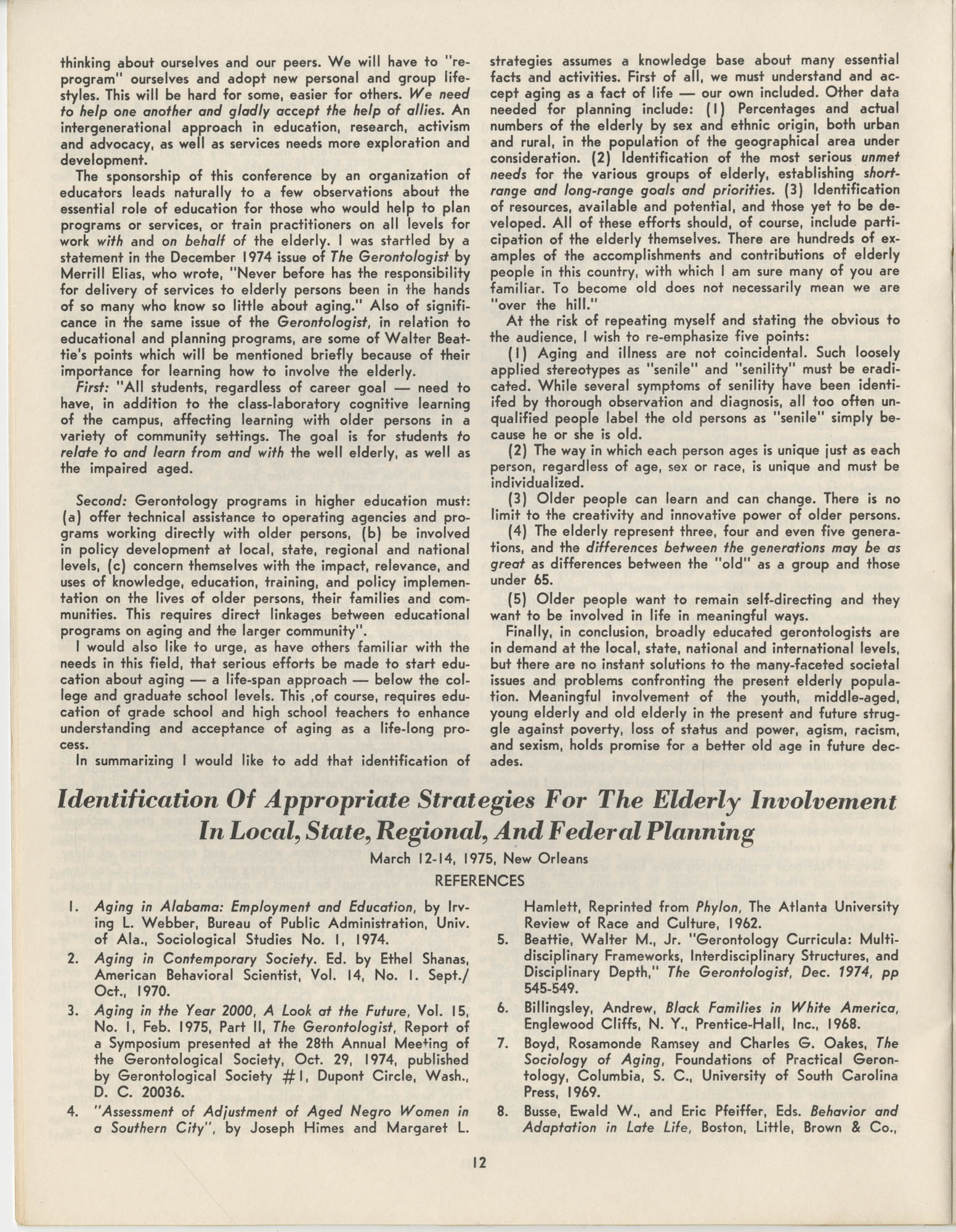 Black Educators Council for Human Services Conference on Aging, March 1975, Page 12