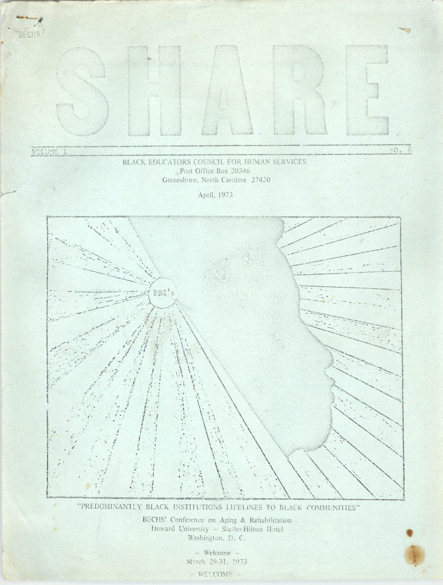SHARE, Volume I, Number 8, April 1973, Cover Exterior