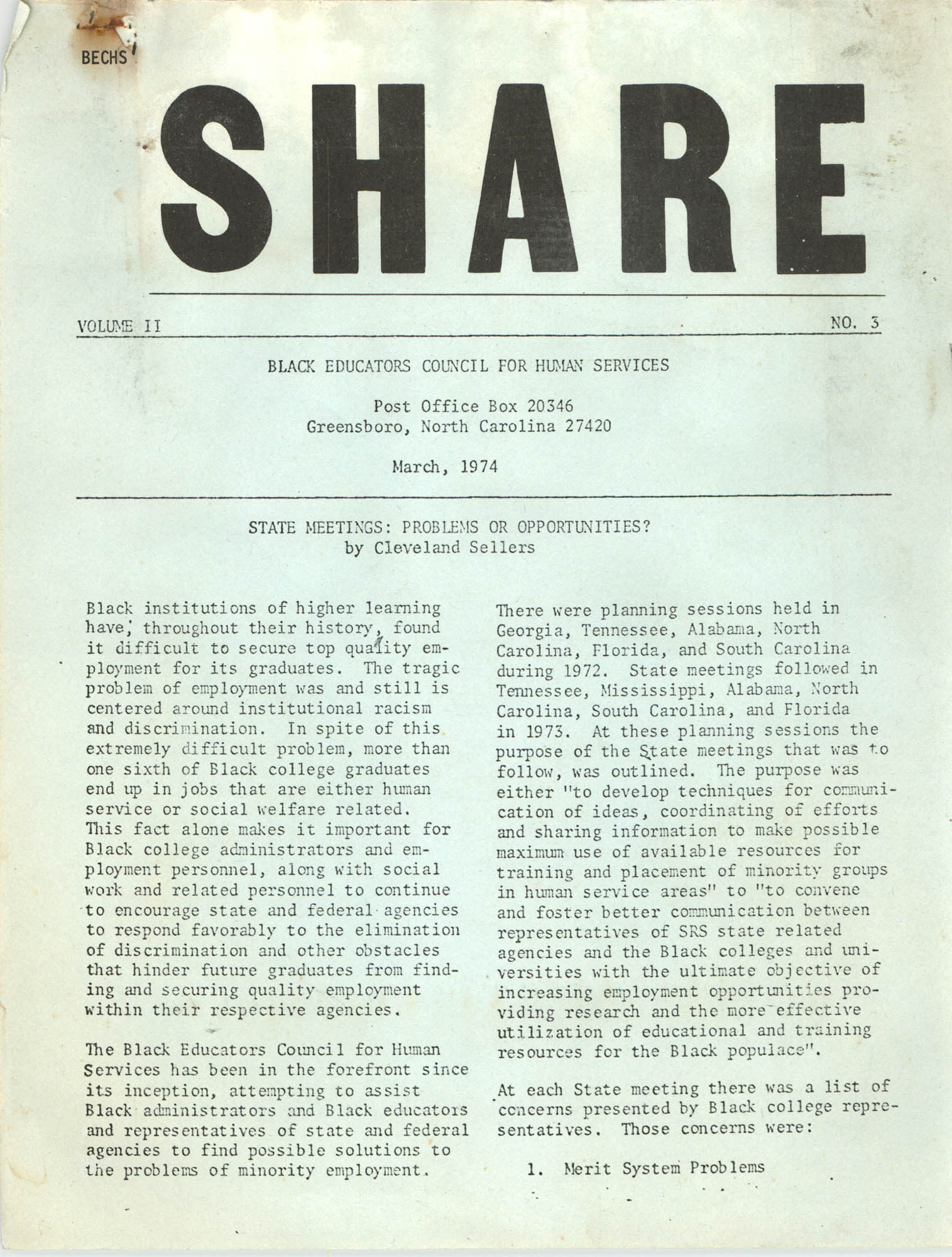 SHARE, Volume II, Number 3, March 1974, Page 1