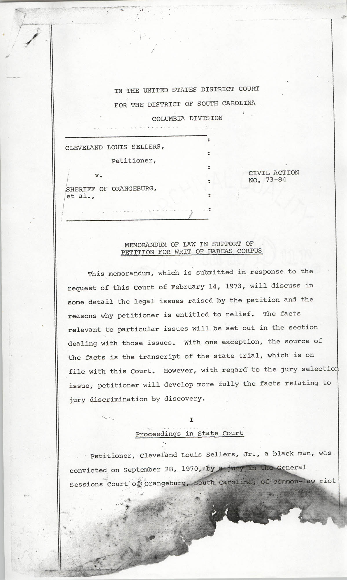 Cleveland Louis Sellers, Petitioner, v. Sheriff of Orangeburg, et al., Civil Action No. 73-84, Page 1