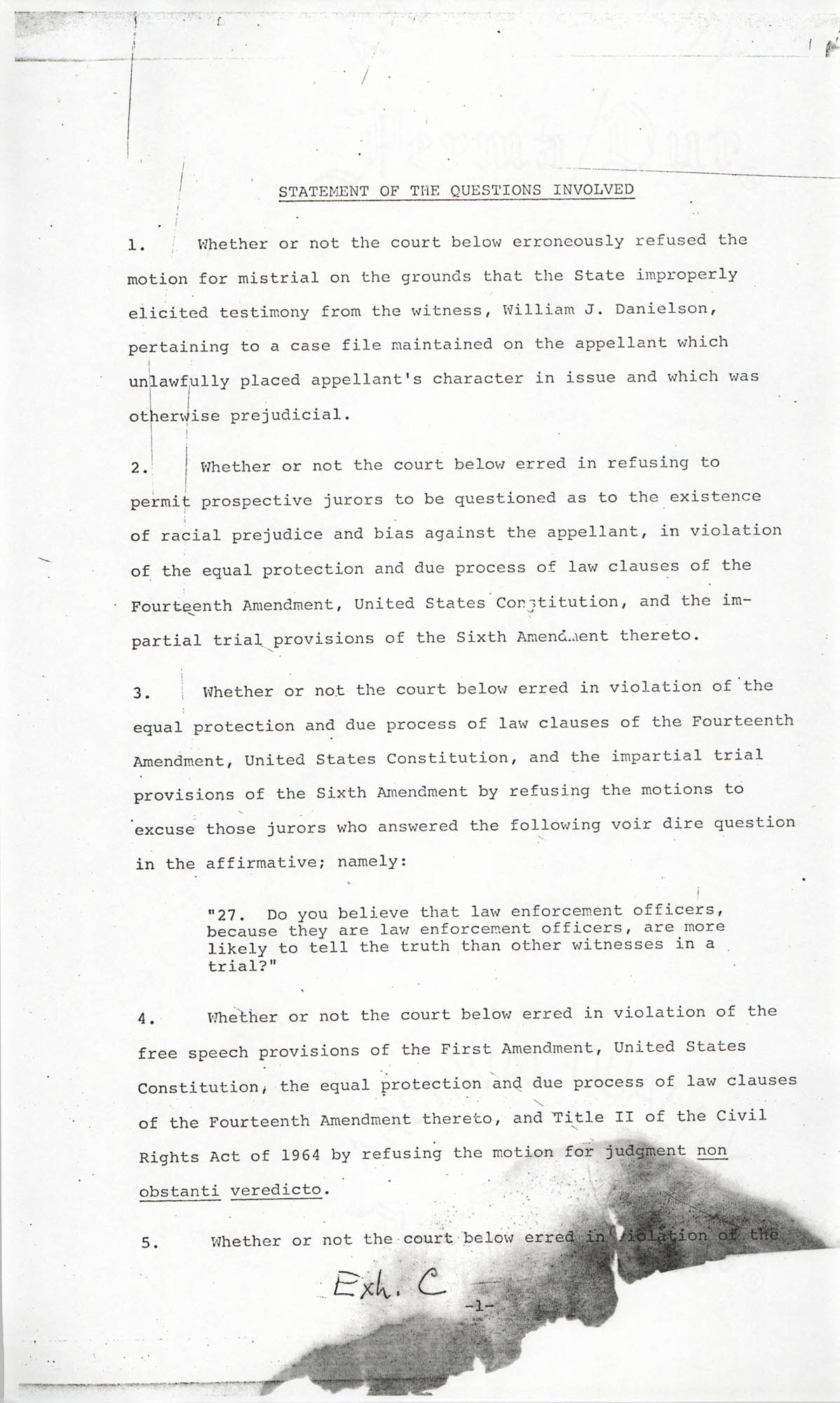 Cleveland Louis Sellers, Petitioner, v. Sheriff of Orangeburg, et al., Civil Action No. 73-84, Appendix Page 1