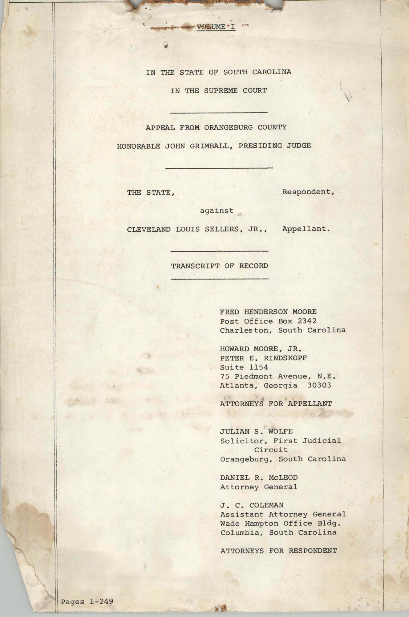 Appeal from Orangeburg County, The State against Cleveland Louis Sellers, Jr., Volume I, Cover