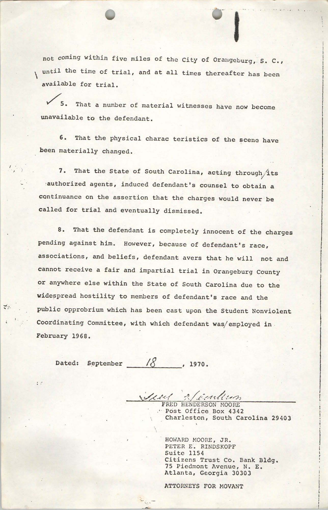 Appeal from Orangeburg County, The State against Cleveland Louis Sellers, Jr., Volume I, Page 6